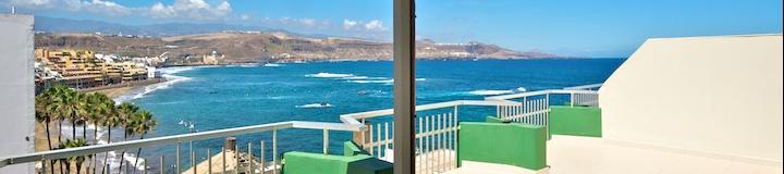 Ocean view panorama from Atlantis Attico Apartment at Canteras beachfront Las Palmas de Gran Canaria