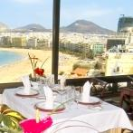 Dining Room and views from Reina Isabel Hotel Las Palmas